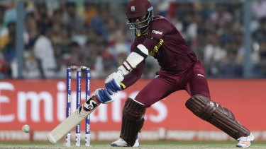 Marlon Samuels in full flight for the West Indies.