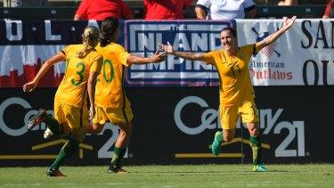 Lisa De Vanna celebrates during Australia's win over Brazil.