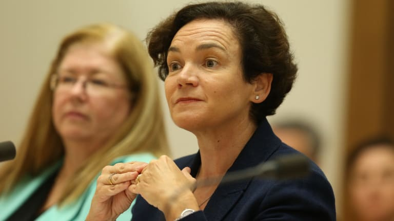 Kathryn Campbell fronts a Senate committee hearing about Centrelink's robo-debt collection on Wednesday.