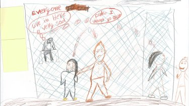 Drawings from children in detention.
