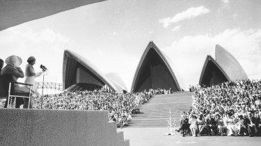 Queen Elizabeth II officially opens the Sydney Opera House in 1973