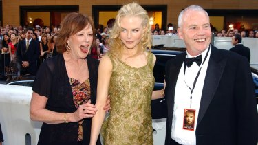 Close-knit: Nicole Kidman, centre, with her mother Janelle and father Antony, who died in 2014.