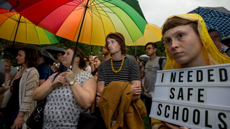 Attacks on the Safe Schools program led to protests in Melbourne last year.