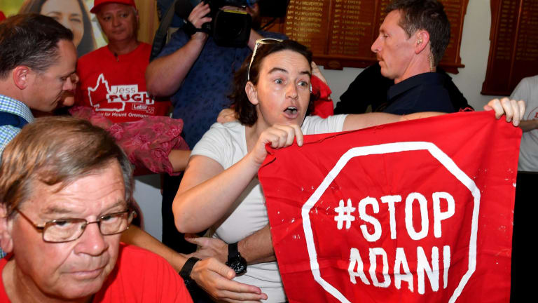 Anti-Adani coal mine protesters during the recent Queensland election..