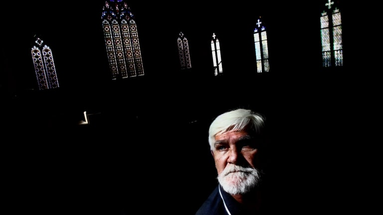 Jamie Whittaker, photographed at the Newtown Mission Church. Whittaker has been visiting the community church since his son Eric was found dead in Parklea jail in July.