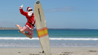 Sun-soaked Santa: Christmas in Australia could see you heading to the beach dressed as Santa. And why not? It will still be light at 3.30pm.