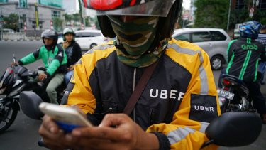 Go-Jek, UberMotor and GrabBike: three of the motorbike ride-sharing businesses in the capital.