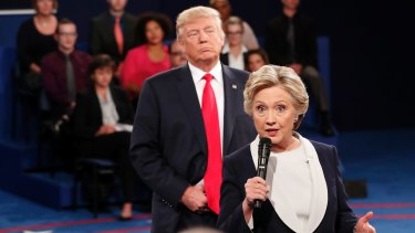 Hillary Clinton speaks during the second presidential debate in St. Louis.
