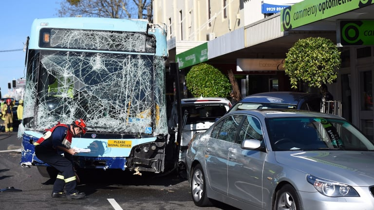 A bus has crashed into a pedestrian and row of cars in Cammeray.
