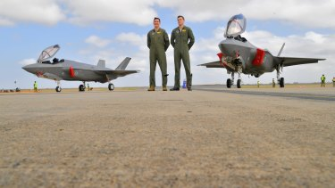 Pilots David Bell and Andrew Jackson with Joint Strike Fighters  at Avalon.