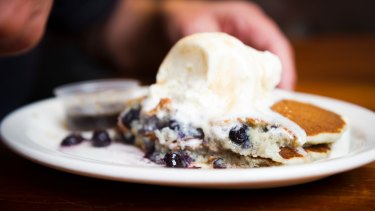 "The ""signature dish"", blueberry pancakes."