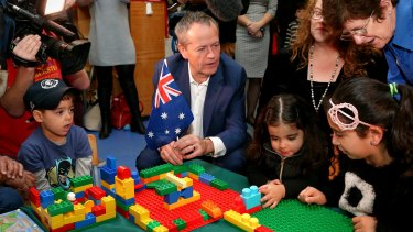Opposition Leader Bill Shorten during a visit to Bestchance Child and Family Care Centre in Glen Waverley.
