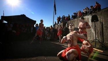 The Yamma Boys Indigenous Dance Group launch NAIDOC Week at Bar Island, La Perouse.