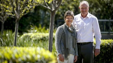 Former AFL footballer Geoff Southby and his sister Brenda Cuthbertson, both taking part in a cancer research for the Cancer Council.