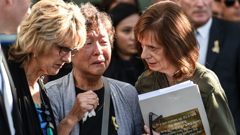 Helen Chan at the funeral for her son Andrew Chan.