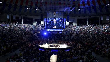 Ted Cruz speaking to the thousands of students.