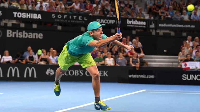 Alex de Minaur on his way to victory over Milos Raonic on Wednesday night.
