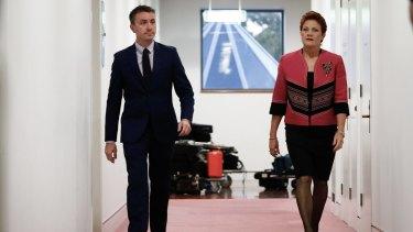 One Nation senator Pauline Hanson and chief-of-staff James Ashby.