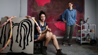 Creative space: Sarah Contos (left) and Lara Merrett  at their Alexandria studios.