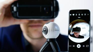 A Samsung Gear 360 camera watches an employee watching himself in VR.