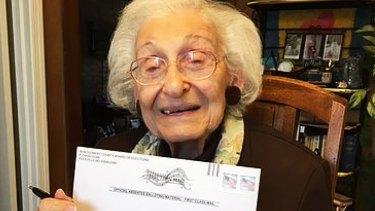 Estelle Schultz with her ballot. (Courtesy of Roberta Benor)