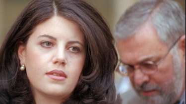 Former White House intern Monica Lewinsky and her attorney in 1998.