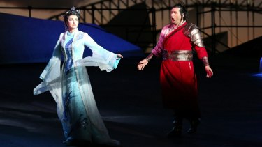 Dragana Radakovic (Turandot) and Riccardo Massi (Calaf) in Handa Opera on Sydney Harbour.