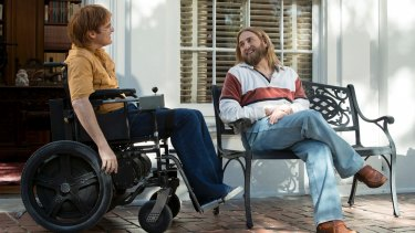 Joaquin Phoenix as John Callahan and Jonah Hill as Donnie in Don't Worry, He Won't Get Far on Foot.