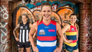 Moana Hope, Katie Brennan and Ebony Marinoff at the AFL Women's uniform launch on Thursday.