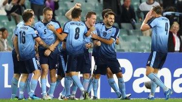 Great start: Sydney FC celebrate Brandon ONeill's goal.
