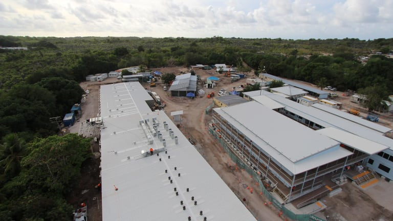 The Nauru detention centre when it was being rebuilt in 2013 after riots and fires damaged much of the structure.