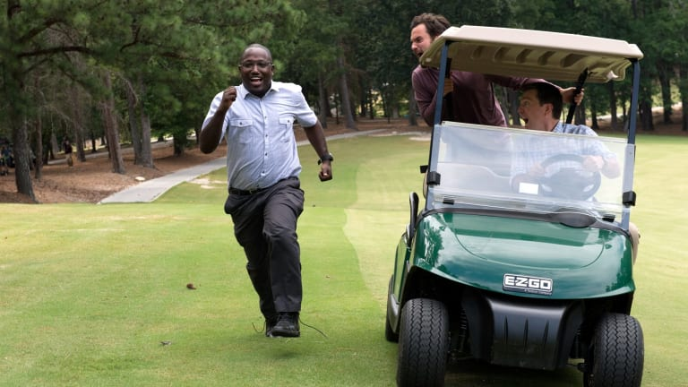 Sable (Hannibal Buress) tries to outrun Randy (Jake Johnson) and Hoagie (Ed Helms).