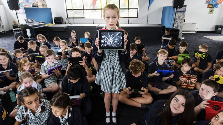 Grade 6 student Rose at Donvale Primary School. With the use of iPads has come a new set of rules and a whole lot of shattered screens.