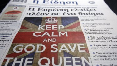 "A Greek newspaper with the cover headline of ""Europe Hopes For A Miracle"" in reference to the referendum in Britain over whether to remain in the European Union."