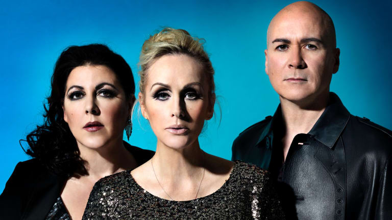 "Joanne Catherall, Susan Ann Sulley and Phil Oakey of Human League, whose sound was called ""synthetic soul""."