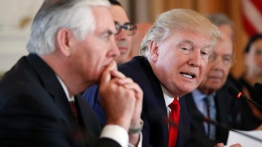 US Secretary of State Rex Tillerson with President Donald Trump.