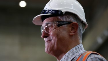 Prime Minister Malcolm Turnbull during his tour of the Snowy Hydro Tumut 3 power station in Talbingo on Thursday.