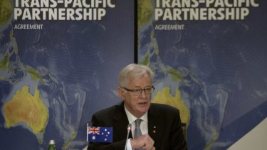 Trade Minister Andrew Robb speaks during the Trans-Pacific Partnership meeting of trade representatives in Sydney.