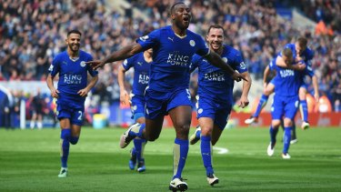 Wes Morgan celebrates after scoring for Leicester against Southampton.