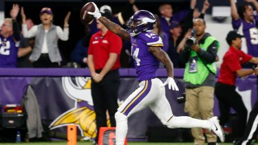 Minnesota Vikings wide receiver Stefon Diggs runs in for a game-winning touchdown against the New Orleans Saints.