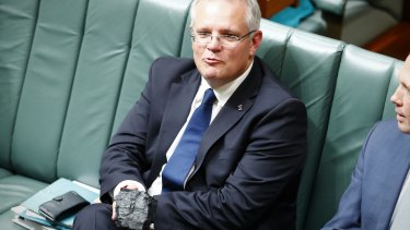 Scott Morrison with his pet coal in Parliament.
