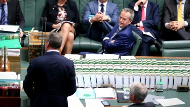 Opposition Leader Bill Shorten , Deputy Prime Minister Barnaby Joyce and Prime Minister Malcolm Turnbull during question time earlier this month.