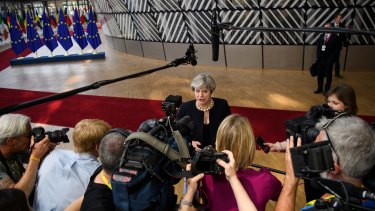 British PM Theresa May arrives at the European Council meeting in Brussels, Belgium, on June 22.