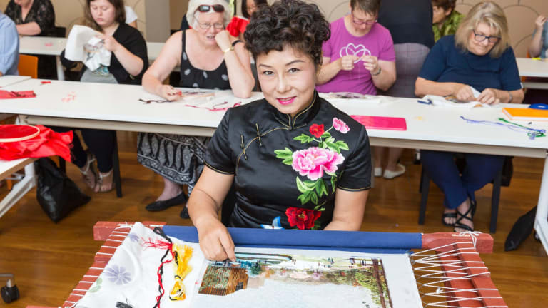 Jenny Gao teaches Brisbane locals the 2000-year-old art of Chinese silk embroidery.