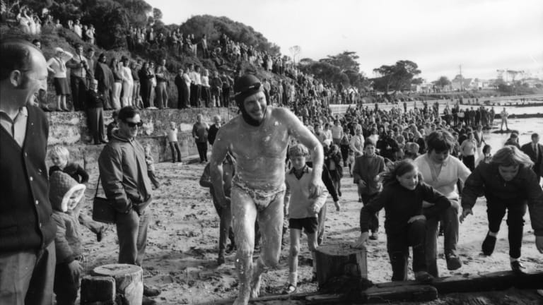 Doug Mew before his swim across the Rip in 1971.