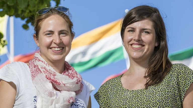 Emma Colenbrander, left, of Pollinate Energy and Clare Condon are India-bound.