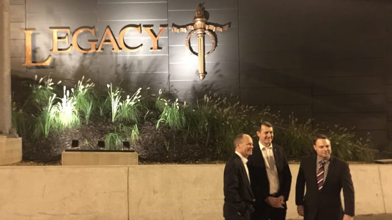Former premier Campbell Newman, Lord Mayor Graham Quirk and Deputy Mayor Adrian Schrinner at the Legacy Way opening.