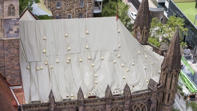 The damaged roof of St John's Anglican Cathedral.