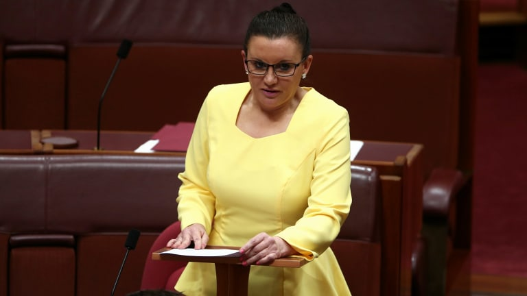 Former senator Jacqui Lambie on her first day in Parliament in 2014.
