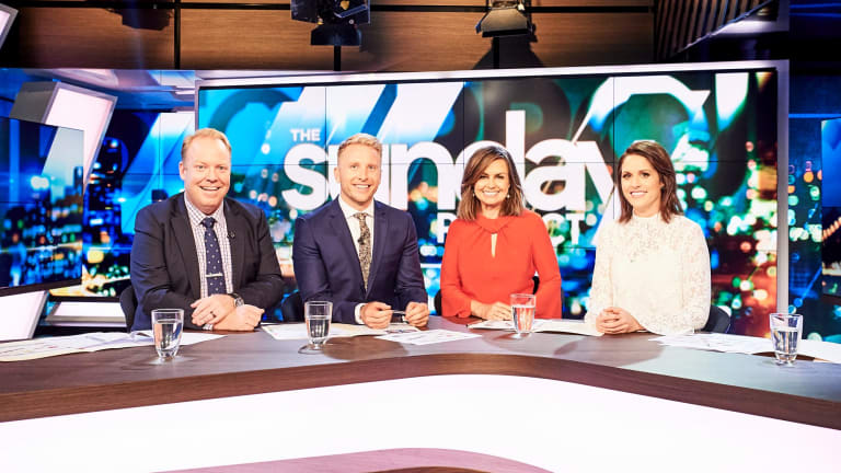 Peter Helliar, Hamish McDonald, Lisa Wilkinson and Rachel Corbett during Wilkinson's first appearance on <i>The Project</i> after defecting from Nine to Ten.